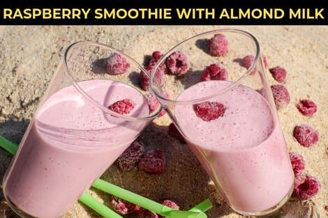 raspberry smoothie with almond milk